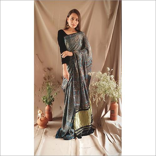 Ajrakh Indigo Blue Modall Silk Saree With Tissue Pallu