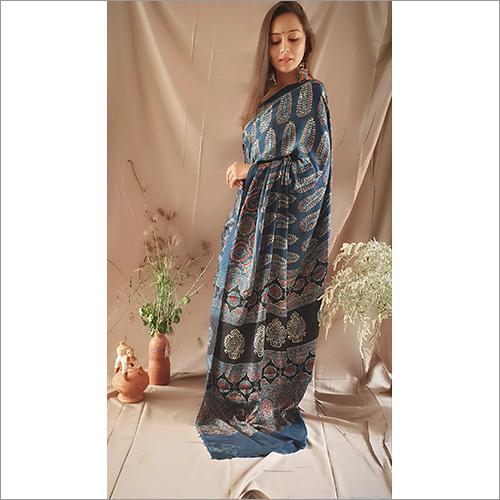 Ajrakh Handpainted Saree Modall Silk