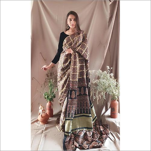 Ajrakh Checks Modall Silk Saree Natural Dye