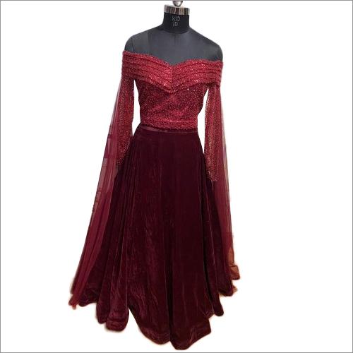 Ladies Maroon Off Shoulder Dress