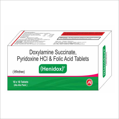 Doxylamine Succinate Pyridoxine HCl And Folic Acid Tablets