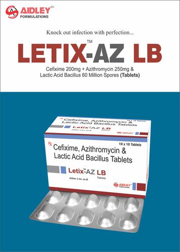 Cefixime 200mg + Azithromycin 250mg & Lactic Acid Bacillus 60 Million Spores Tablets