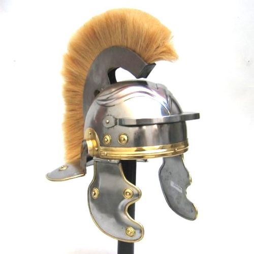Medieval Armor Helmet ~ ROMAN CENTURION HELMET WITH WHITE PLUME