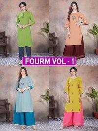 Fourm Vol - 1 Premium Cotton Kurti With Plazzo