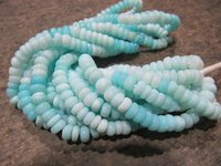 Natural Blue Peruvian Opal Rondelle Plain Smooth Beads 5-6mm Strand 8 Inches