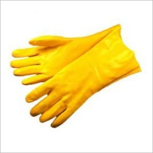 Yellow PVC Supported Hand Gloves