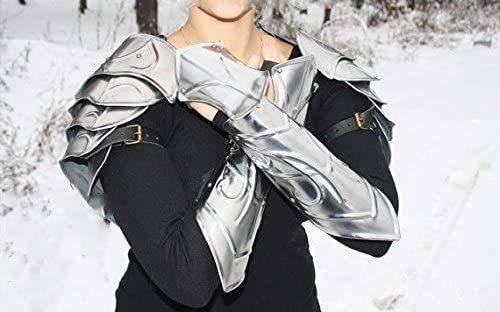 NAUTICALMART LARP Medieval Fantasy Costume Elven Steel Armor: a Pair of arm bracers and Shoulders pauldrons
