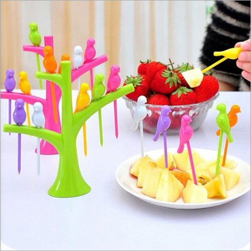 Plastic Bird Design Fruit Fork