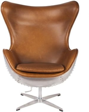 Hand-Hammered Aviator Aluminum Mid Century Modern Classic Arne Jacobsen Style Egg Replica Lounge Chair With Premium Vintage Caramel Brown PU Leather Fiberglass Inner Shell and Polished Aluminium Frame