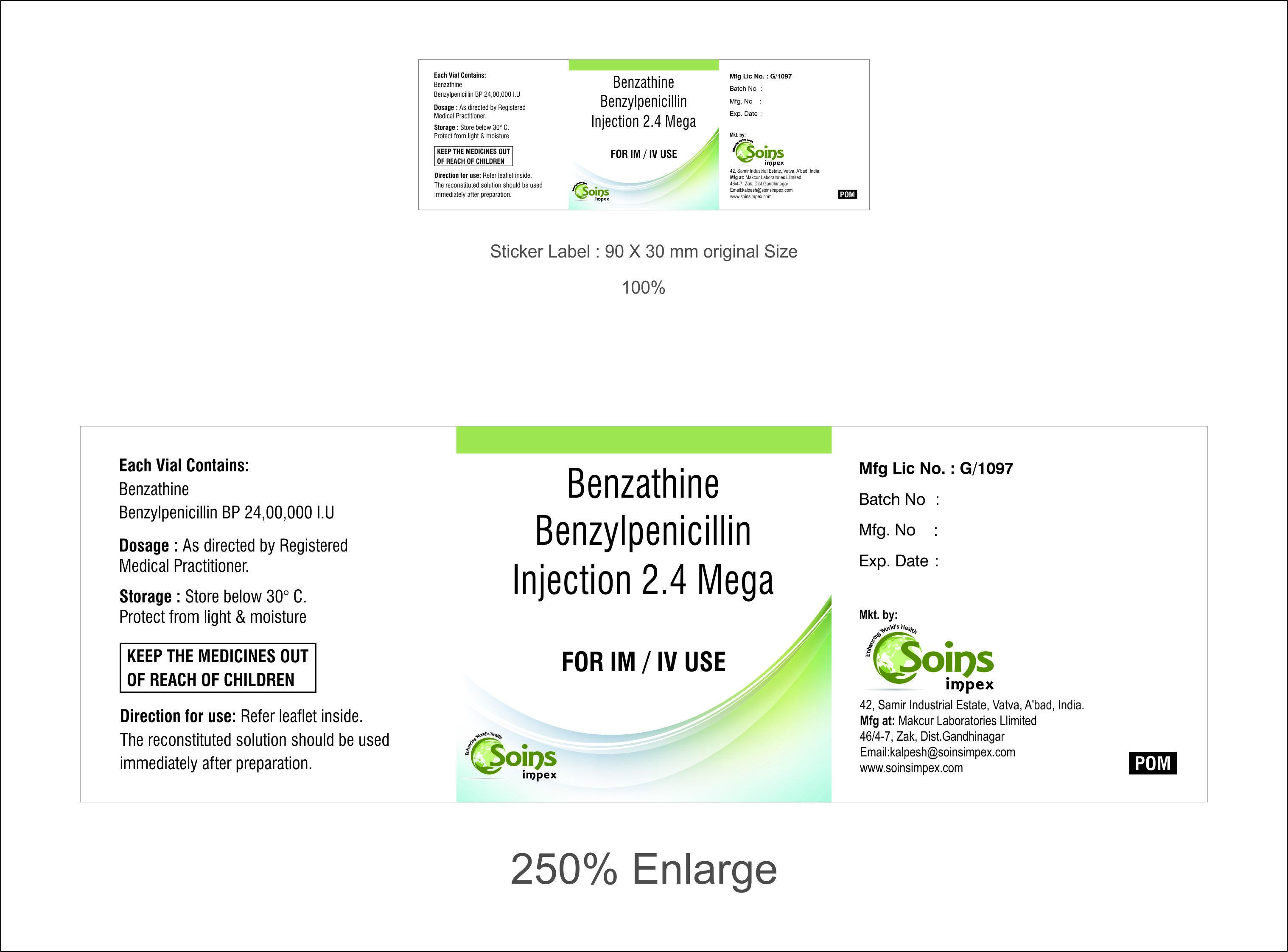 Benzathine Benzylpenicillin 2.4 Mega