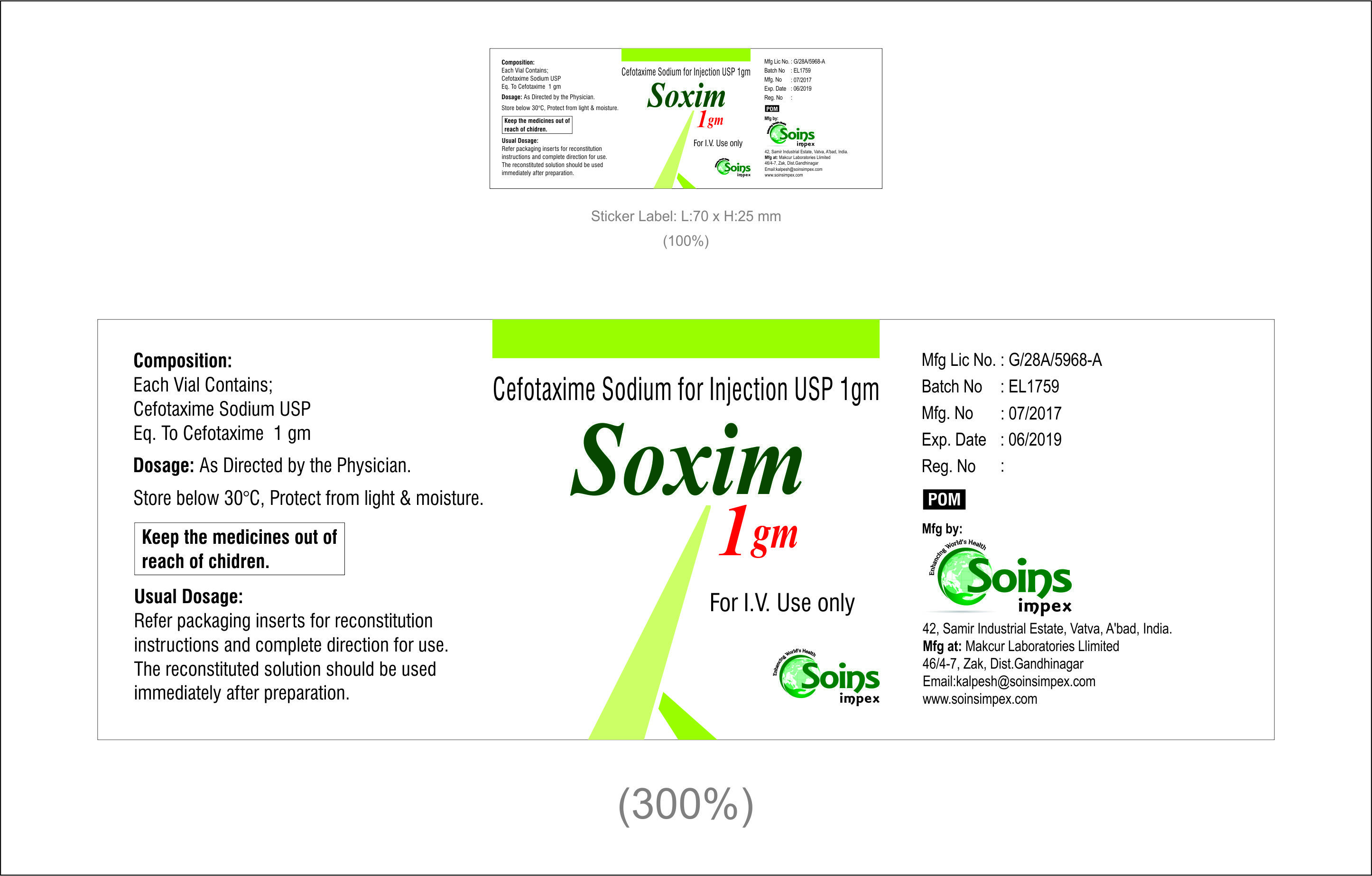 Cefotaxime Sodium For Injection 1gm