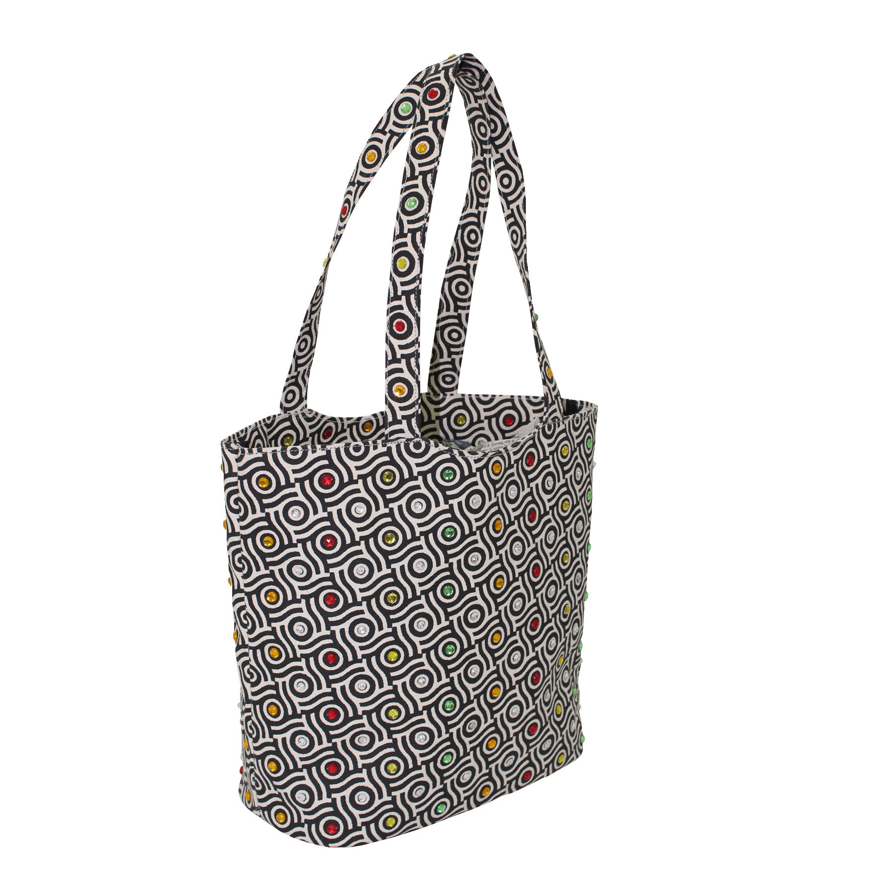 12 Oz Natural Canvas Beach Bag With Bead Work And Inside Lining