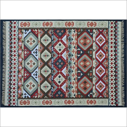 Multicolor Hand Woven Polyester Flat Weave Kilim