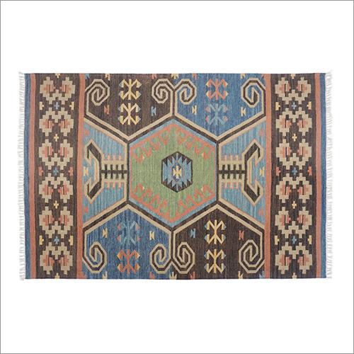 Multicolor Hand Woven Woolen Flat Weave Floor Kilim