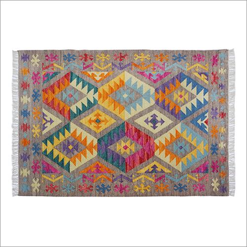Multicolor Hand Woven Woolen & Cotton Flat Weave Kilim