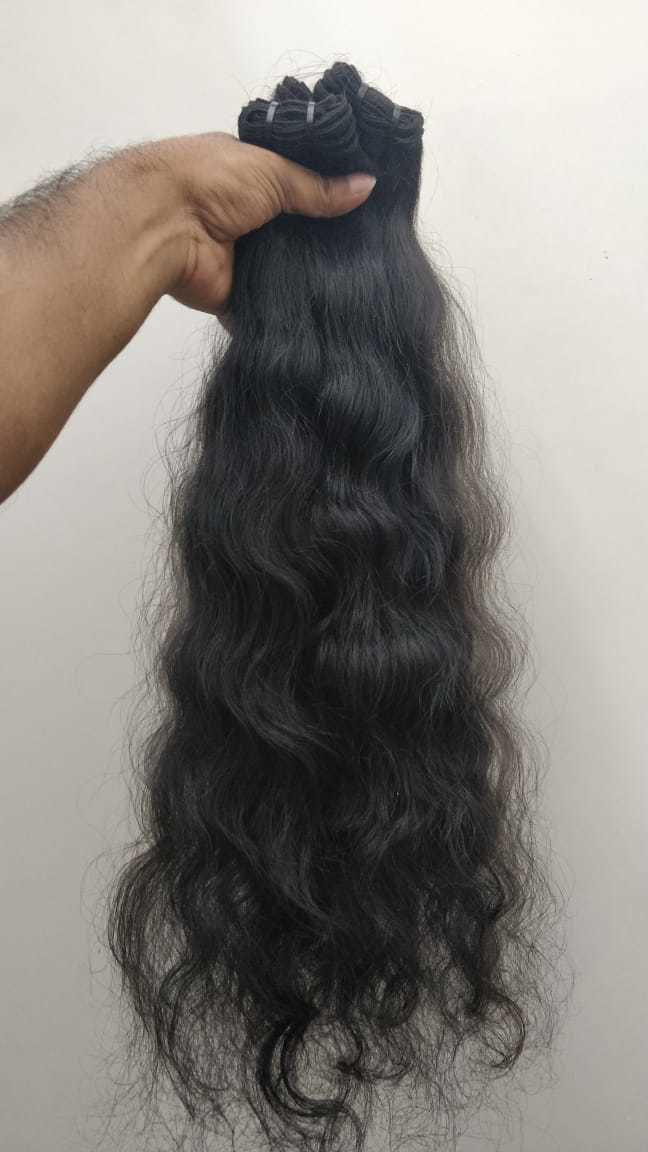 Machine Weft Bundles Natural Wavy Hair