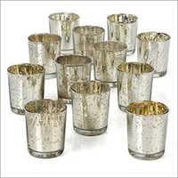 Mercury Finished Glass Candle Holder