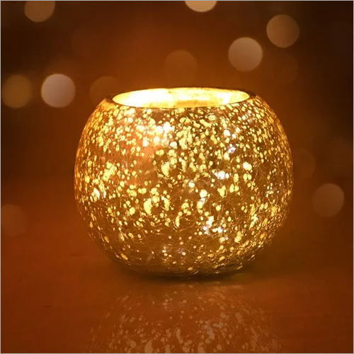 Glass Rolly Poly Votive Holder With Mercury Finish And Golden Color