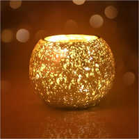 Mercury Finish Golden Color Glass Rolly Poly Votive Holder