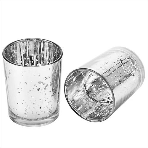 Silver Finished Glass Candle Tea Light Votive