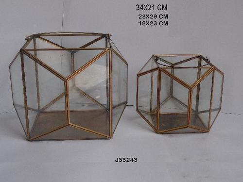 Geometric Glass and Brass Terrarium