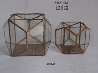 Geometric Glass and Brass Terrarium