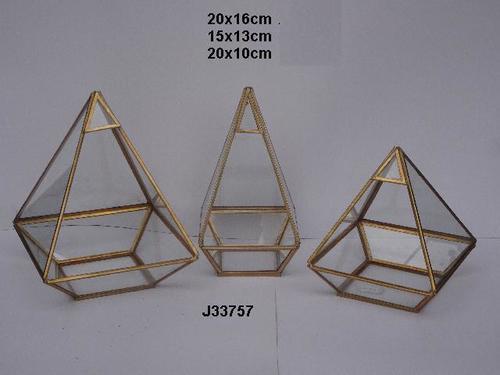 Geometric Glass and Brass Terrarium Pyramid