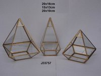 Geometric Glass and Brass Terrarium Pyramid