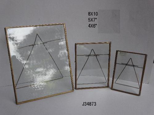 Geometric Brass & Glass Photo Frame