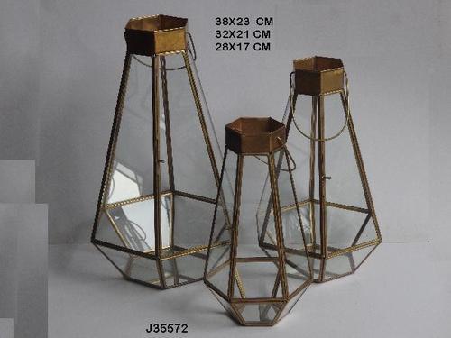 Geometric Glass and Brass Terrarium Lantern