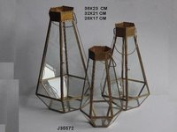 Geometric Glass and Brass Terrarium Lantern