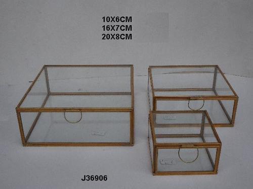 Geometric Glass and Brass Terrarium Square Shape Box