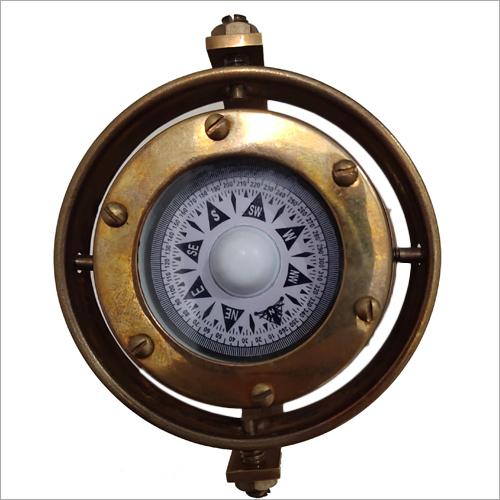 Wood And Brass Antique Brass Compass