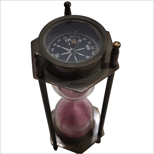 Antique Brass Sand Timer With Compass