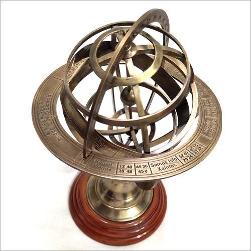 Vintage Zodiac Armillary Brass Sphere Globe Wooden Display