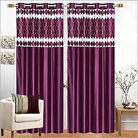 Window Long Crush With Print Patch Curtains