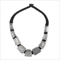 Oxidize White Metal Choker Necklace