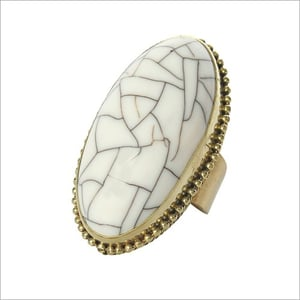 Handmade Brass And Silver Ring With Resin Stone