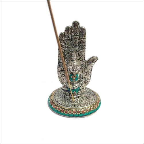 White Metal With Cheap Stone Work Buddha Incense Holder