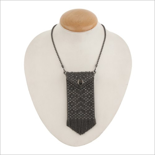 Brass Beaded Card Wallet Necklace