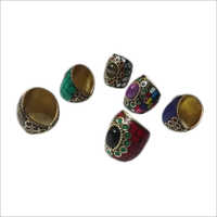 Brass Finger Ring Stone Work With Onyx Stone