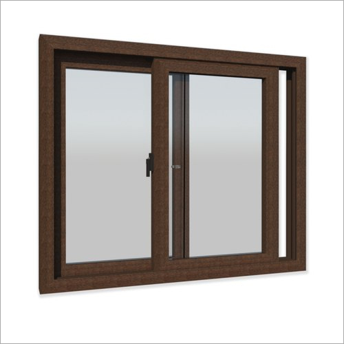 Walnut Colour Sliding UPVC Window