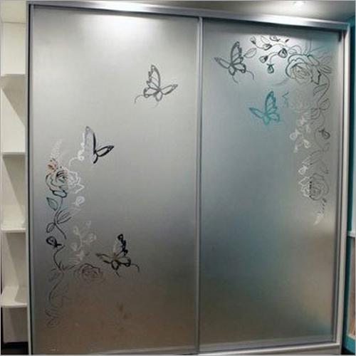 Silver Aluminum Glass Sliding Wardrobe