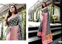 Kimaanee Silk Pure Soft Silk Siroski Work Sarees