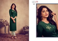 Rosemeen Top 14 Kg Rayon With Khatli Hand Work Bottom Rayon Slub Kurtis