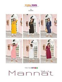 Mannat Vol 6 Party Wear Heavy Rayon Flex Kurtis With Pants