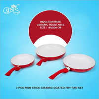 3 Pcs Non Stick Ceramic Coated Fry Pan Set