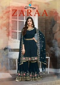 Your Choice Zaraa Georgette Designer Salwar Suit With Sharara Catalog