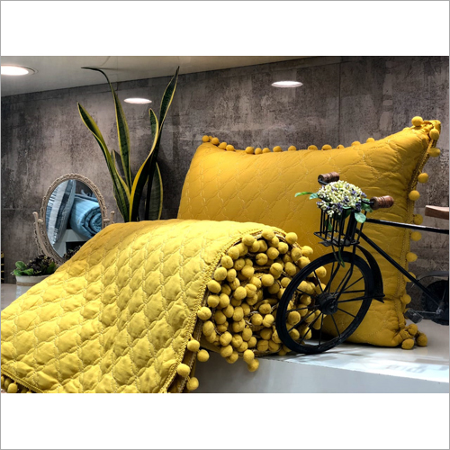 3 Piece Quilted Yellow Bed Cover