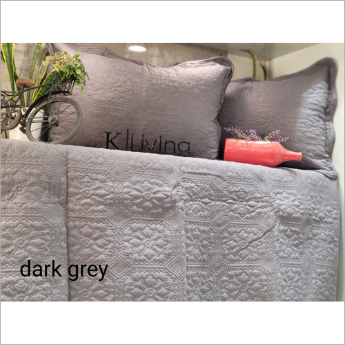 3 Piece Quilted Grey Bed Cover